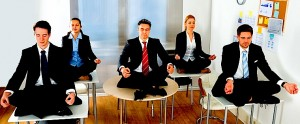 office workers meditating